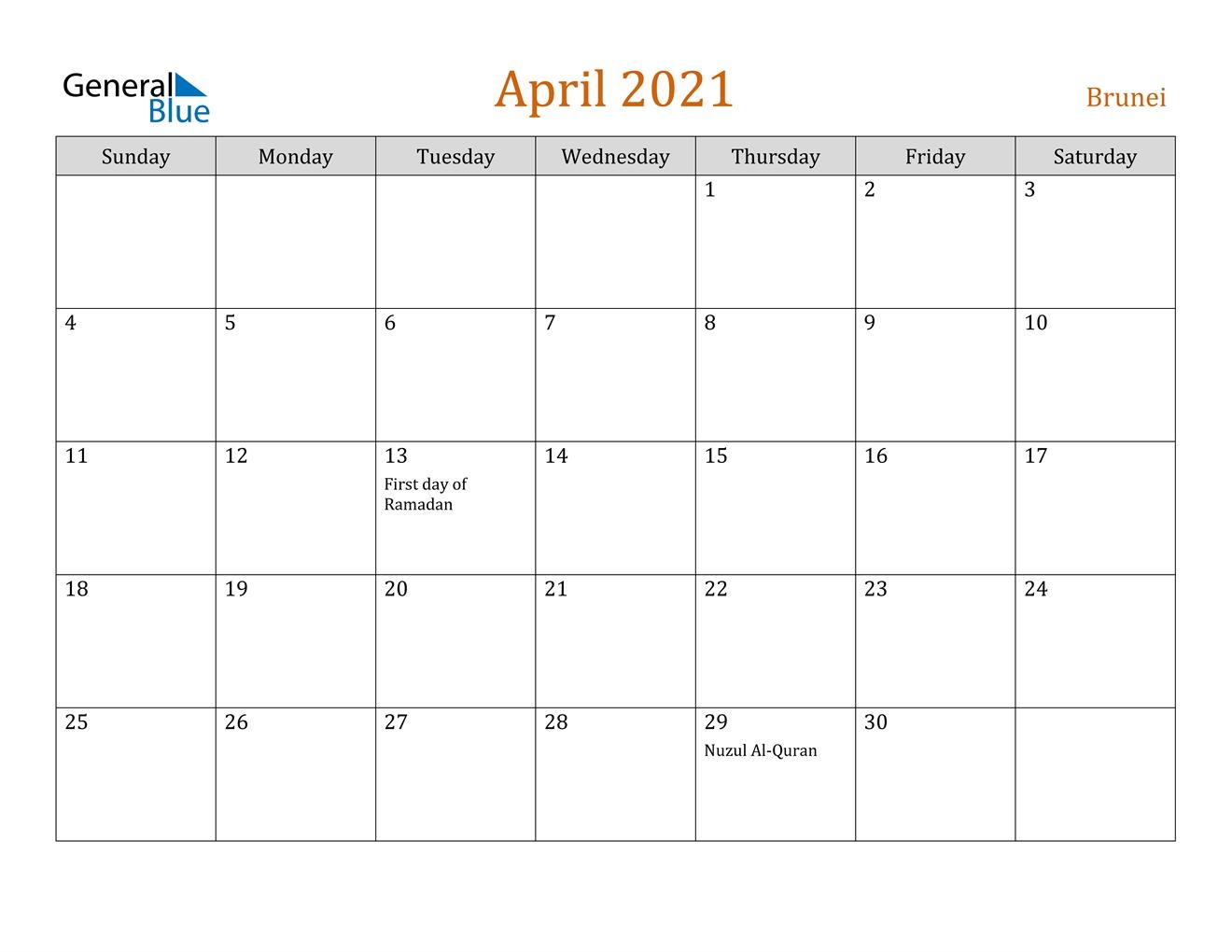 April 2021 Calendar - Brunei in Free Calendar Brunei 2021