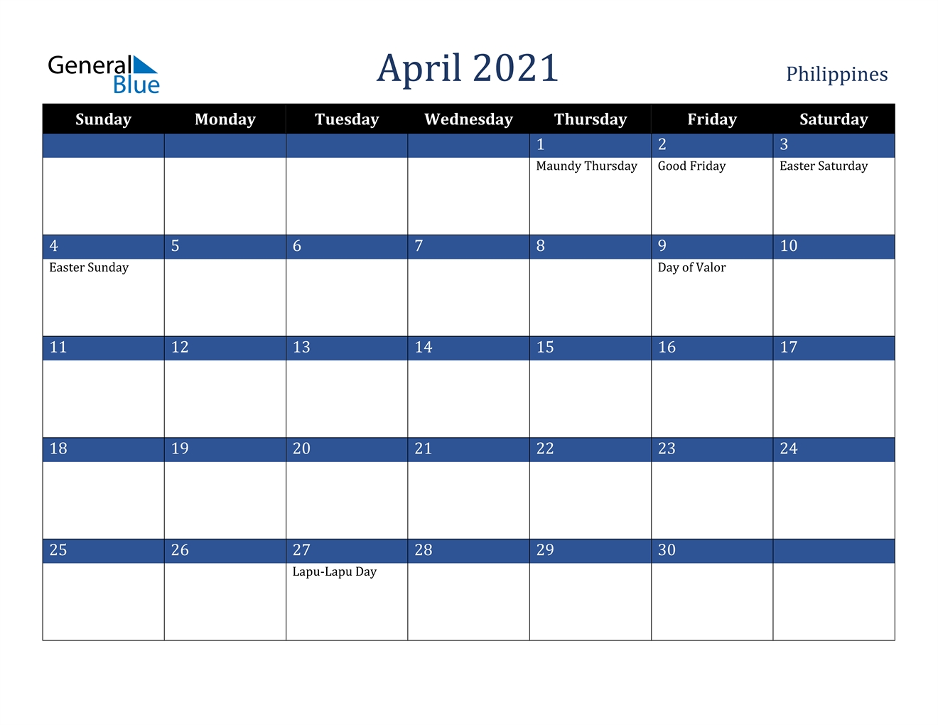 April 2021 Calendar - Philippines for Philippine Calendar 2021 With Holidays Image
