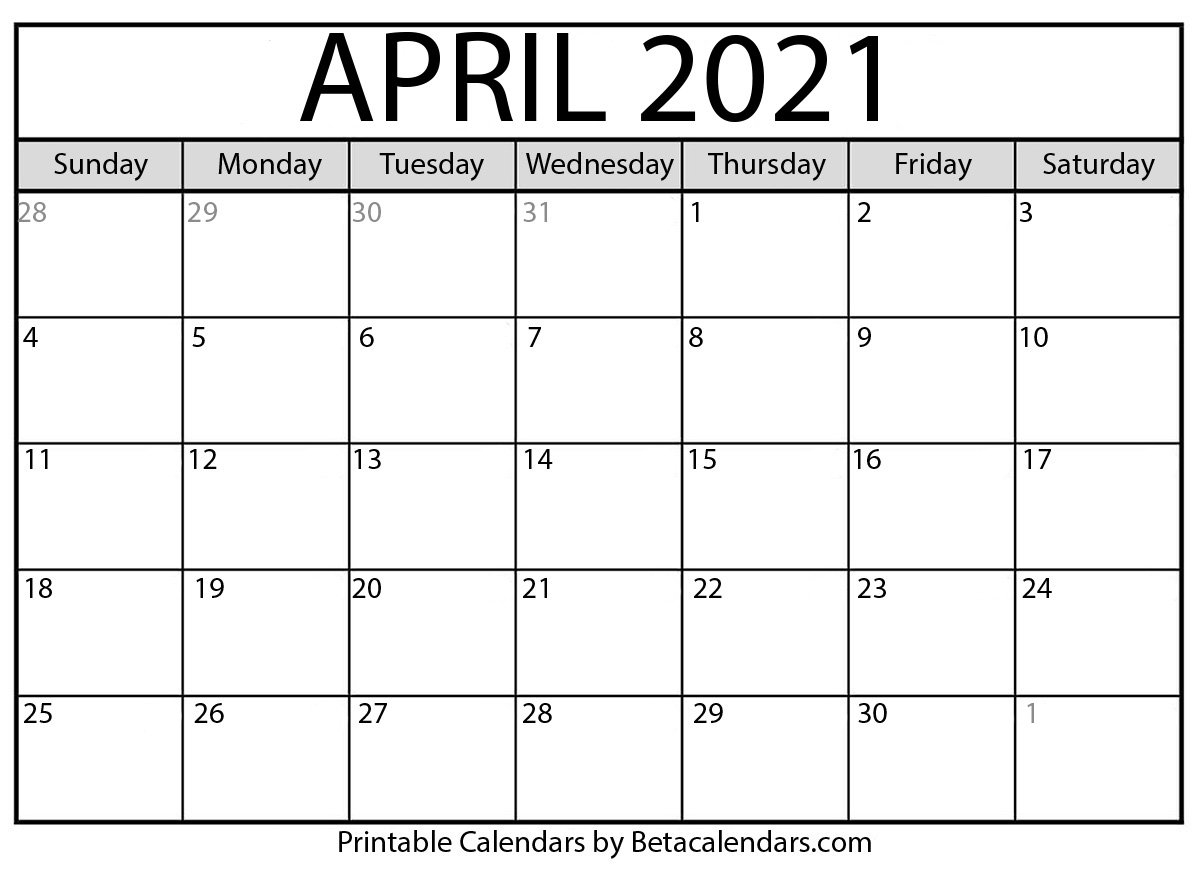 April 2021 Calendar With Holidays | Printable Calendars 2021 pertaining to Free Printable Calendars 2021 Monthly Image