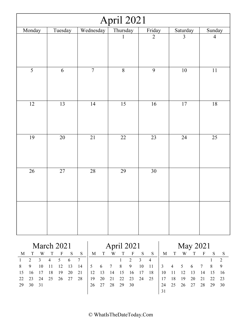 April 2021 Editable Calendar (Vertical Layout) | Whatisthedatetoday within 2021 Excel Calendars Verticle Photo