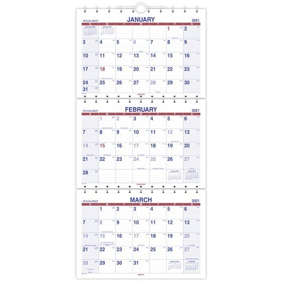 """At-A-Glance 2021 Move-A-Page Three Month Wall Calendar, Large, 12"""" X 27""""   Monthly Wall in Page By Page Large Wall Calendars 2021"""