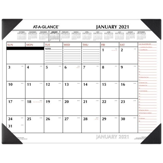 """At-A-Glance 2021 Two Color Monthly Desk Pad Calendar, Standard, 21 3/4"""" X 17""""   Desk Pad intended for 2021 Table Calendar Templates For Illustrator Graphics"""