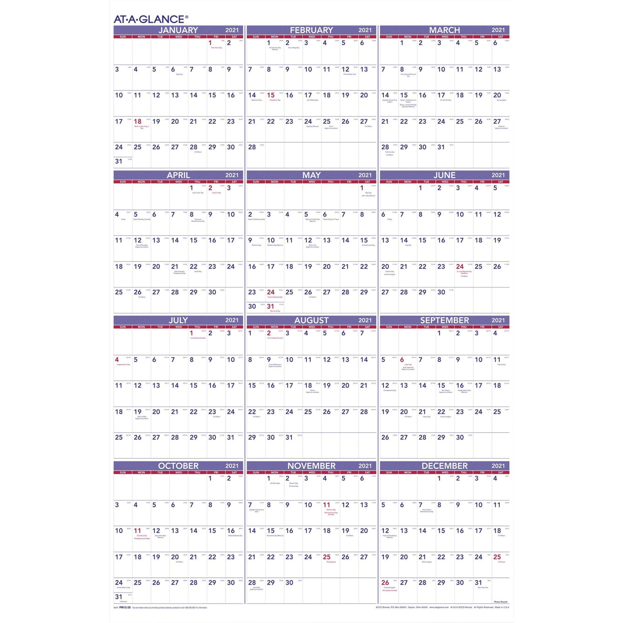 At-A-Glance Yearly Wall Calendar - Julian Dates - Yearly - 1 Year - January 2021 Till December throughout 2021 Julian Date Calendar