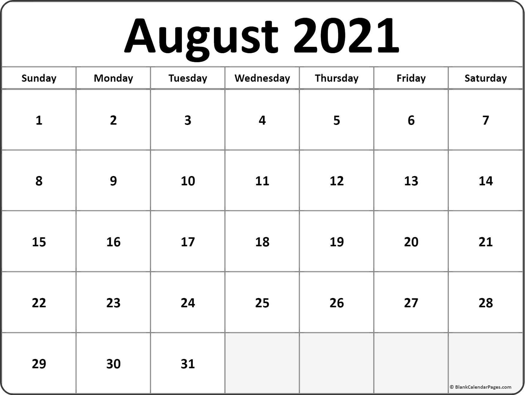 August 2021 Calendar   Free Printable Calendar inside Print Calendar 2021 Monthly Free Photo