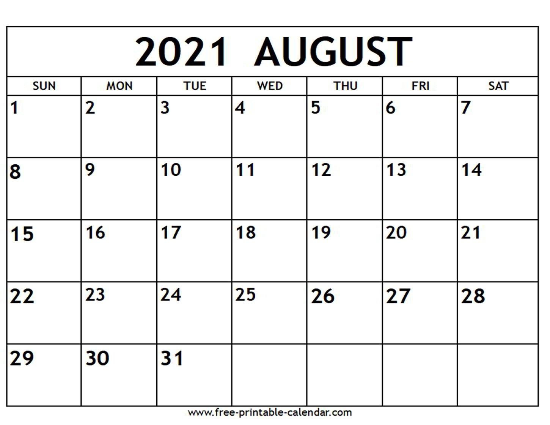 August 2021 Calendar - Free-Printable-Calendar regarding Free Printable Planner Pdf 2021 Image