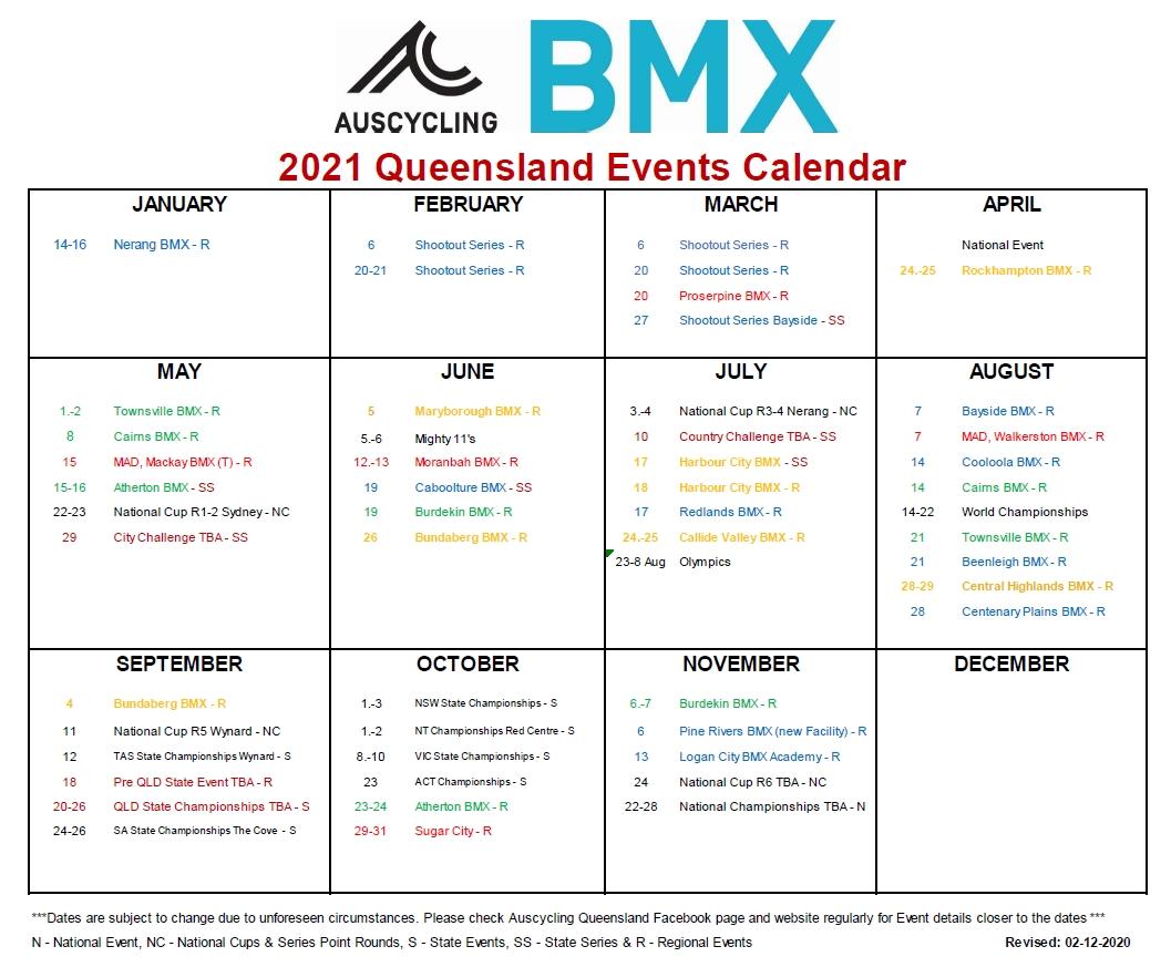 Auscycling | Auscycling Queensland 2021 Bmx Calendar Is Here! in 2021 Media Broadcast Calendar Printable Photo