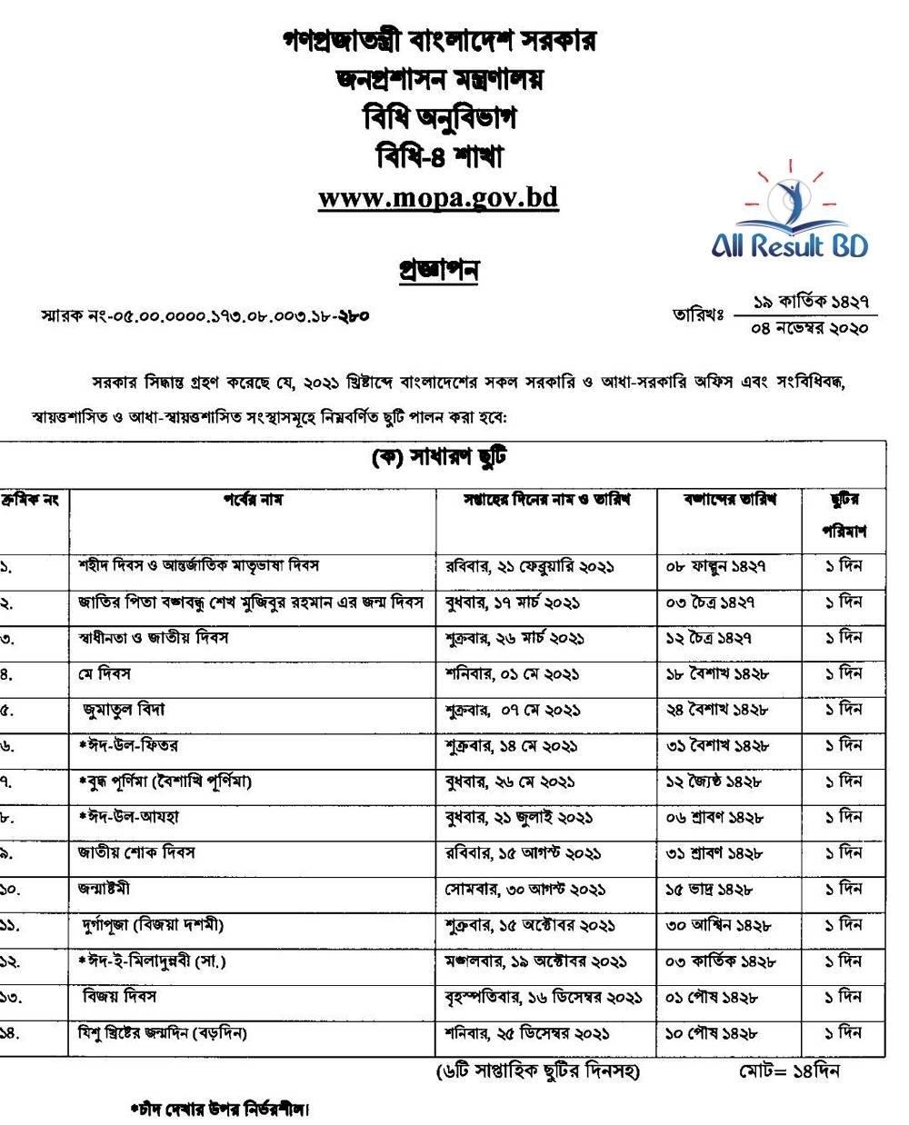 Bangladesh Bank Holiday Calendar 2021 - December October 2021 regarding Bangladesh 2021 Government Calendar