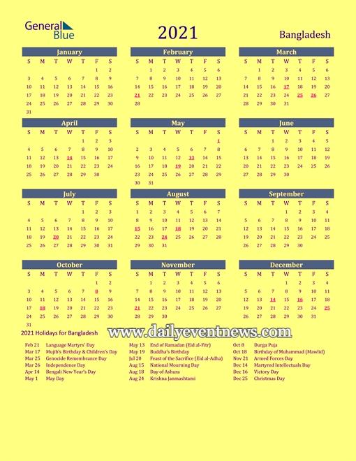 Bangladesh Govt Holiday & Calendar 2021. - Daily Event News with regard to Government Calendar 2021 With Holidays Bangladesh Graphics