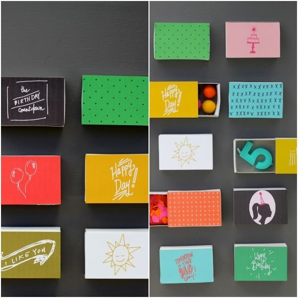 Birthday Advent Countdown - Adorable Matchboxes Of Surprises Like Confetti, Candles And Sweeties within 180 Day Countdown Calendar