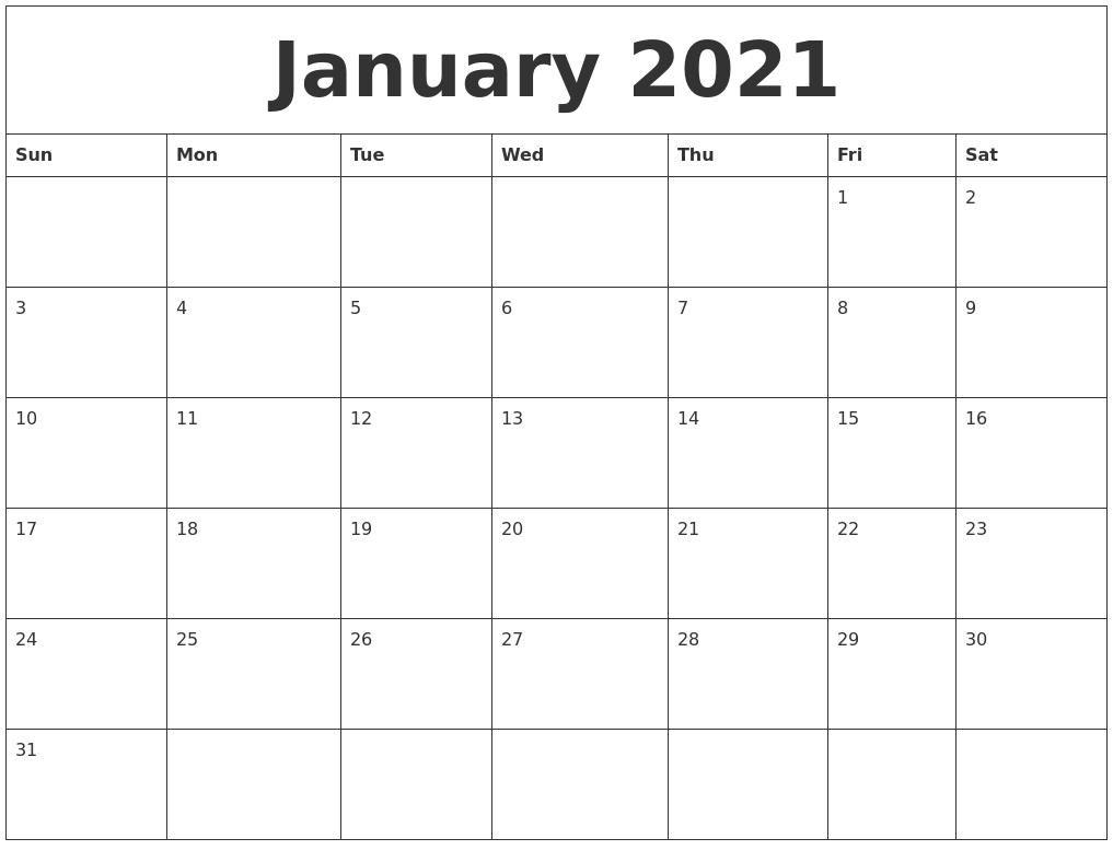 Blank 2021 Calendar Printable Free - Example Calendar Printable intended for Free Printable Monthly Calendar 2021 With Lines