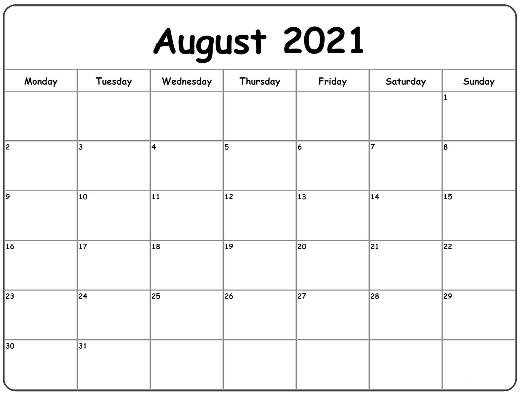 Blank Calendar August 2021 Pdf   Free Printable Calendar inside 2021 Julian Calendar Pdf Image