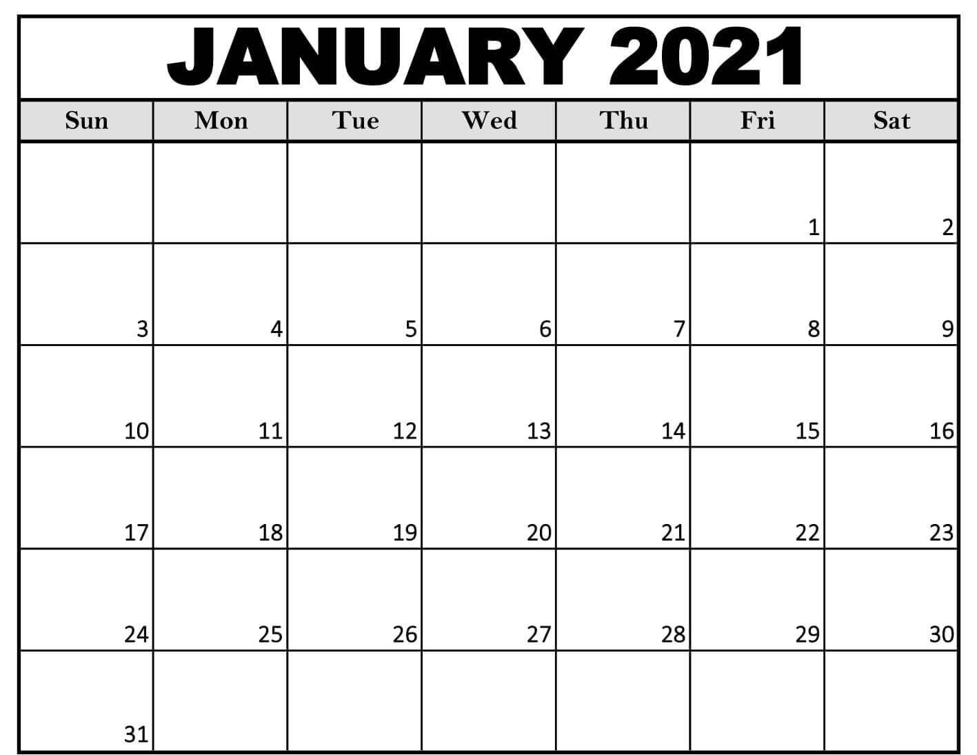 Blank Calendar For January 2021 - Free Printable 2021 Calendar Templates With Holidays pertaining to 2021 Free Printable Weekly Calendar Blank Image