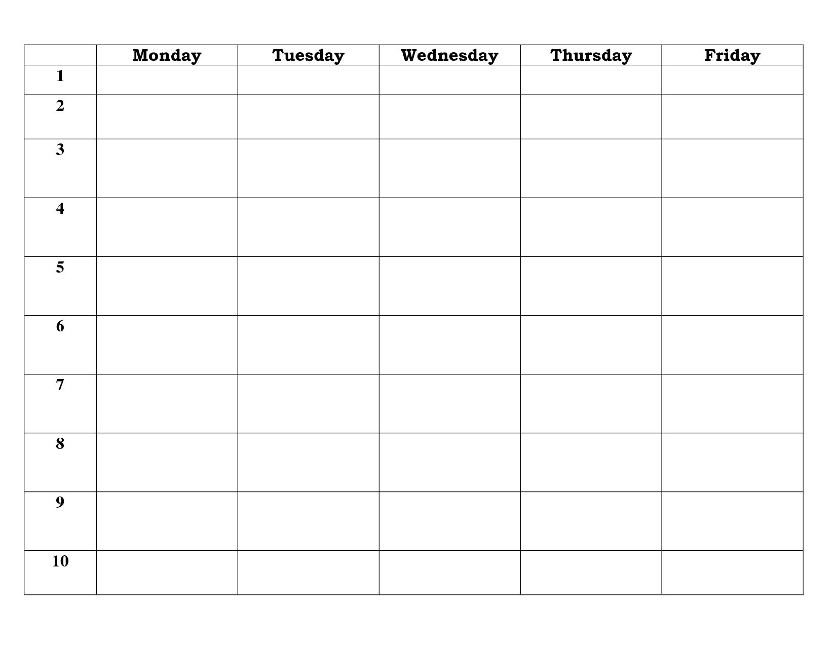Blank Calendar Template 5 Day - Calendar Inspiration Design with regard to Create Your Own Calendar For Free