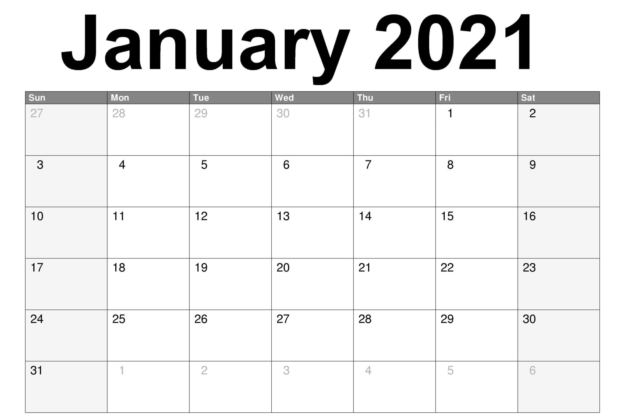 Blank January 2021 Calendar Pdf, Word, Excel Template intended for Printable 2021 Monthly Calendar Template