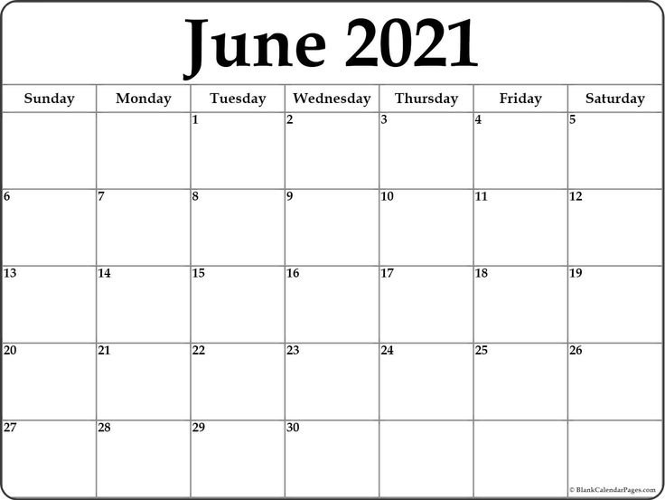 Blank June 2021 Calendar In Printable Format In 2020 | Printable Blank Calendar, Editable within June Editable Calendar 2021