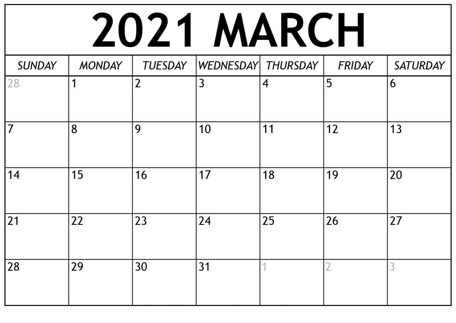 Blank March 2021 Calendar Editable Templates - Mycalendarlabs throughout 2021 Free Printable Weekly Calendar Blank Image