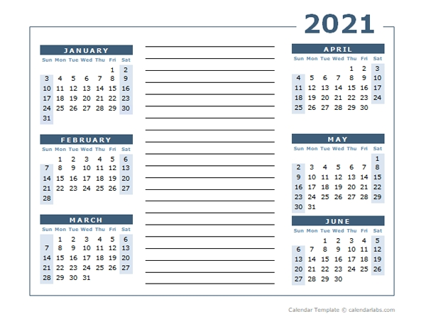 Blank Two Page Calendar Template For 2021 - Free Printable Templates within Two Year Calendar Template 2021 2021 Image