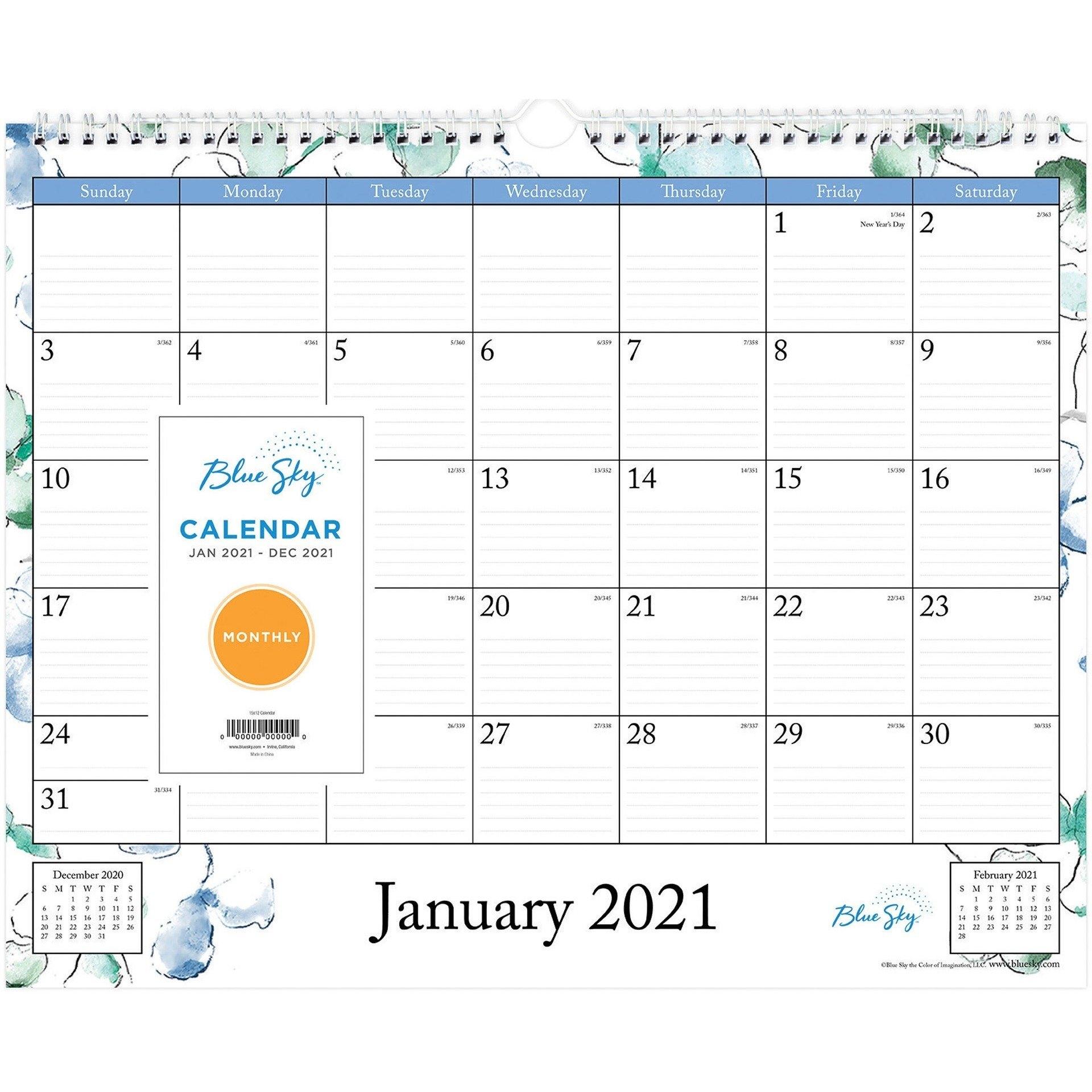 Blue Sky Lindley Wall Calendar - Julian Dates - Monthly - 1 Year - January 2021 Till December pertaining to 2021 Julian Date Calendar