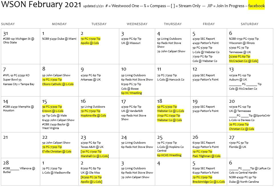 Broadcast Schedule | Wson Am & Fm for Broadcast Month Calendar 2021