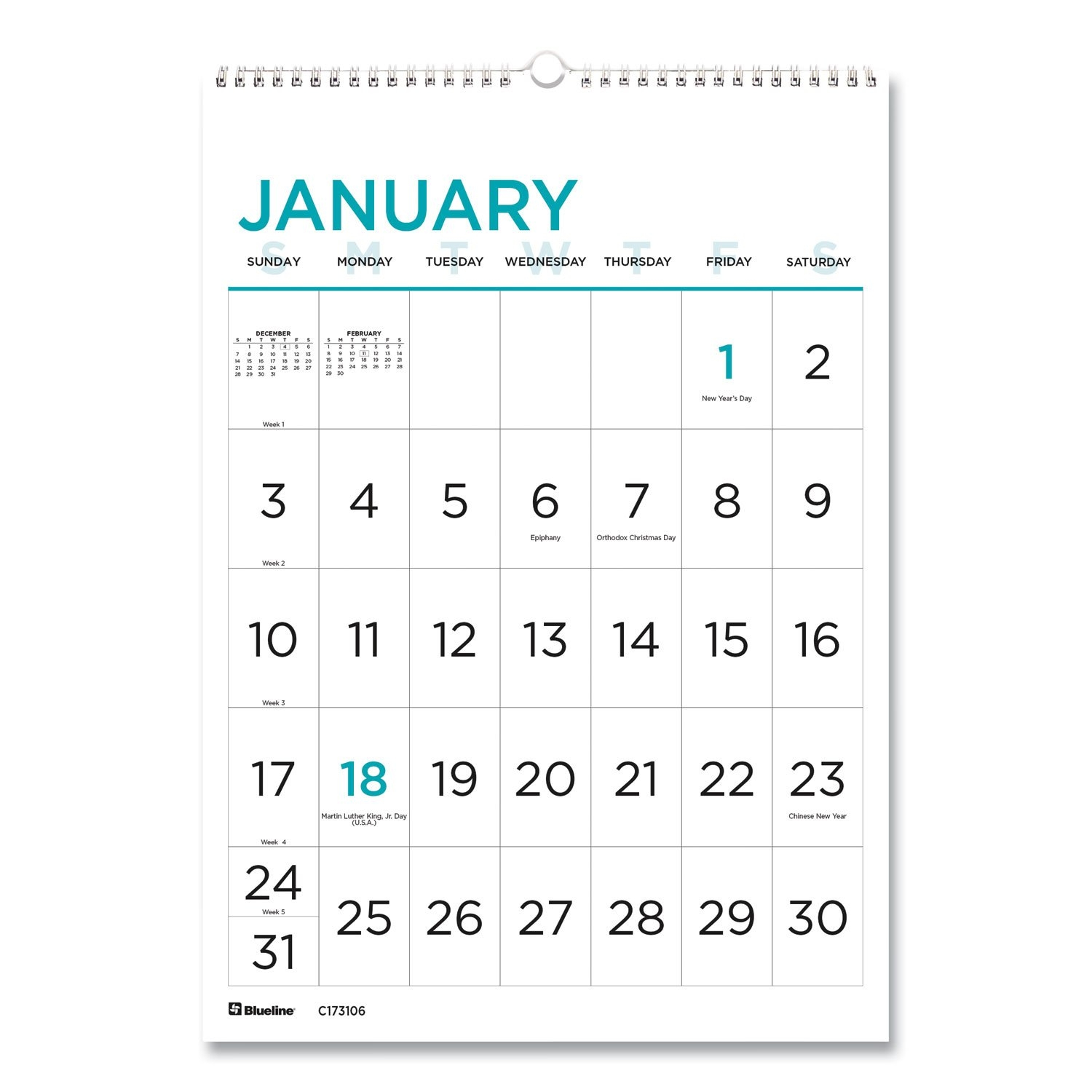 Buy 12-Month Large Print Wall Calendar, 12 X 17, White/Blue, 2021 Online - Janeice Products Co Inc regarding Large Print Free Printable Calendar 2021