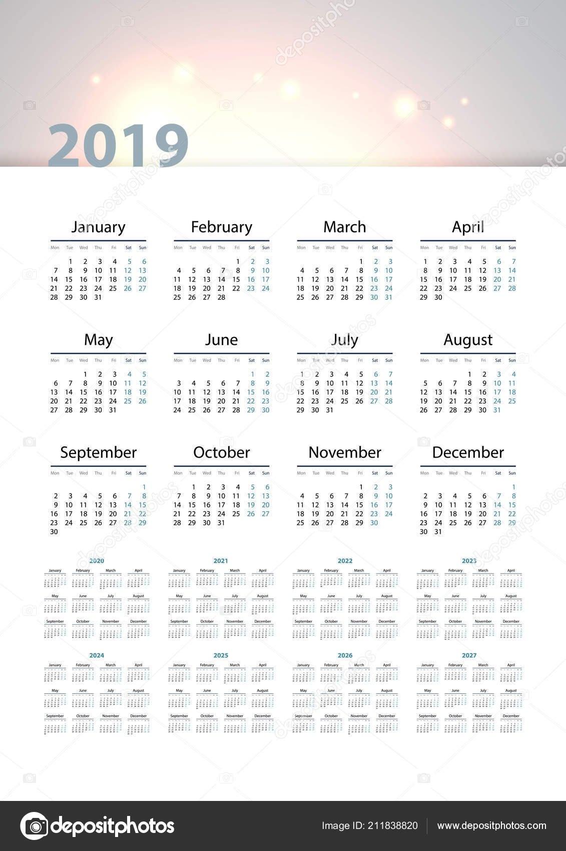 Calendar 2019 2020 2021 2022 2023 2024 2025 2026 2027 — Stock Vector © Tashechka #211838820 in Calender 2021 To 2025