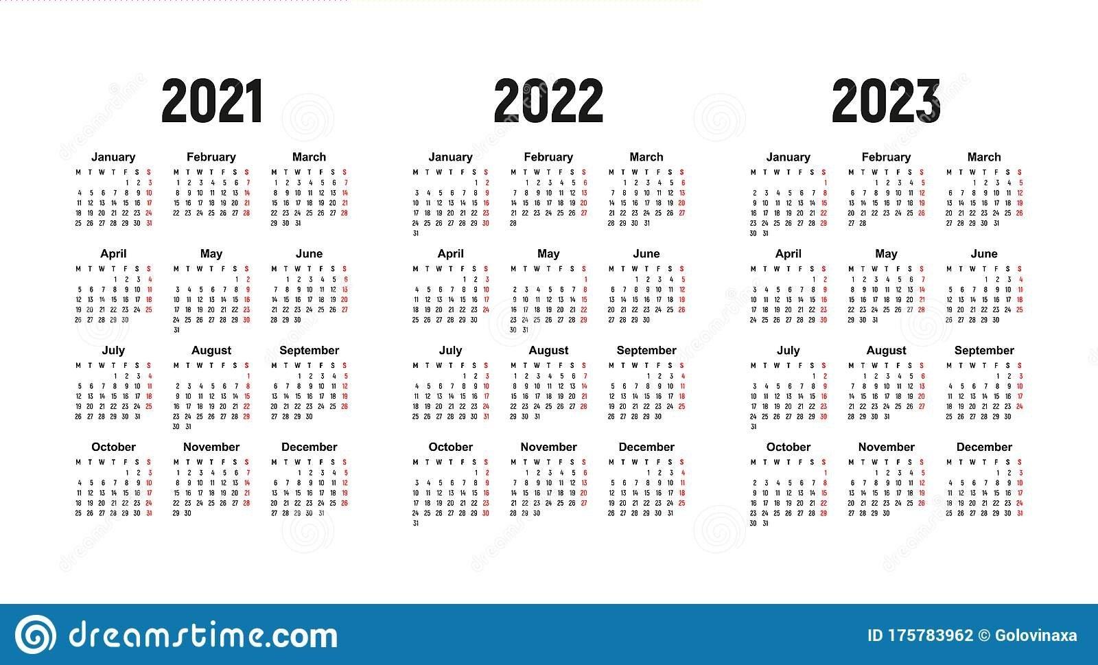 Calendar 2021, 2022 And 2023, Week Starts On Monday, Basic Business Template Stock Vector inside 3 Year Calendar 2021 2021 2022 Graphics
