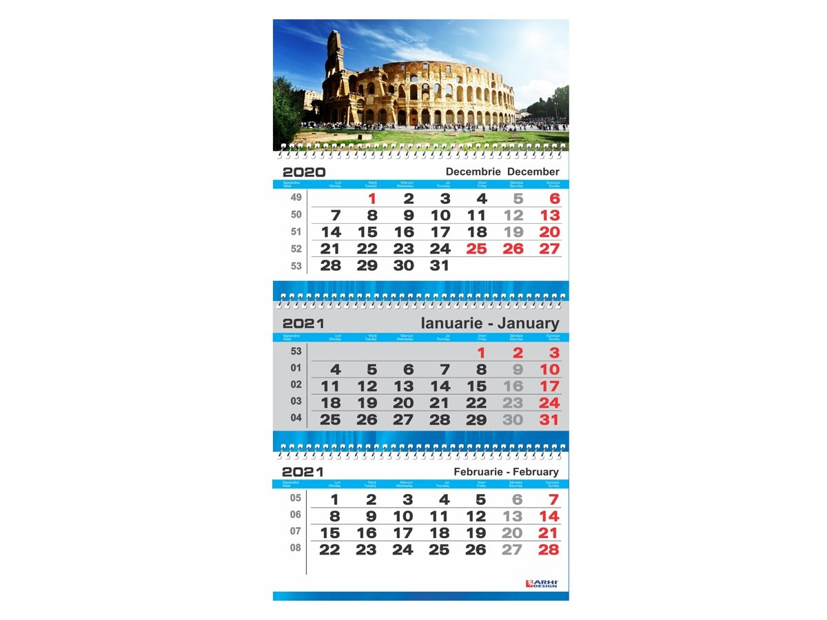 Calendar 2021 De Perete, Triptic Xl - Arhi Design for Calendar 2021 Cu Zile Legale