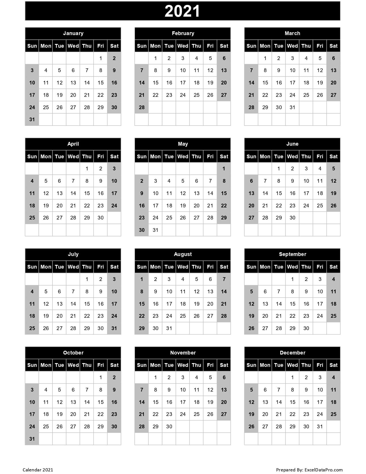 Calendar 2021 Excel Templates, Printable Pdfs & Images - Exceldatapro intended for 2021 Calendar With Date Boxes