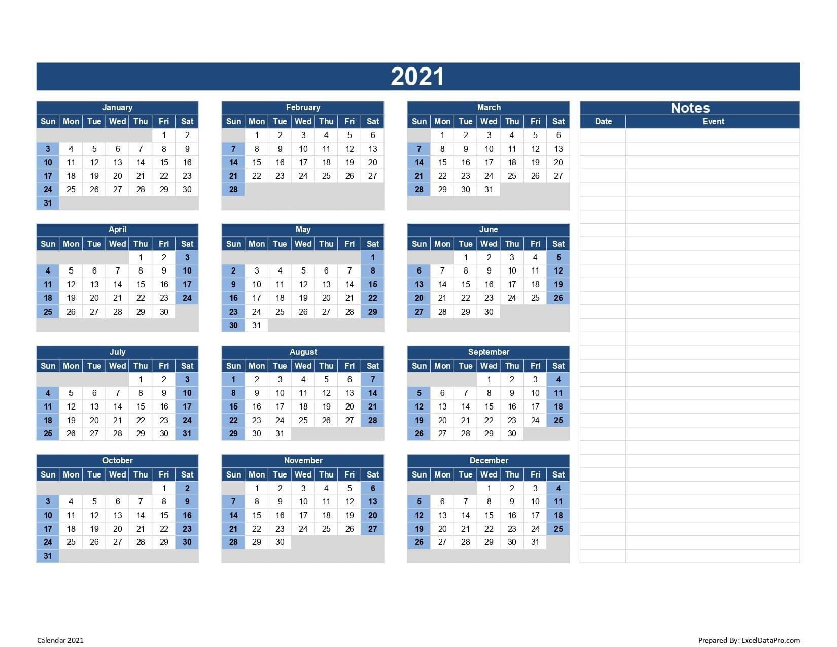 Calendar 2021 Excel Templates, Printable Pdfs & Images - Exceldatapro intended for Calendar Template 2021 Indesign