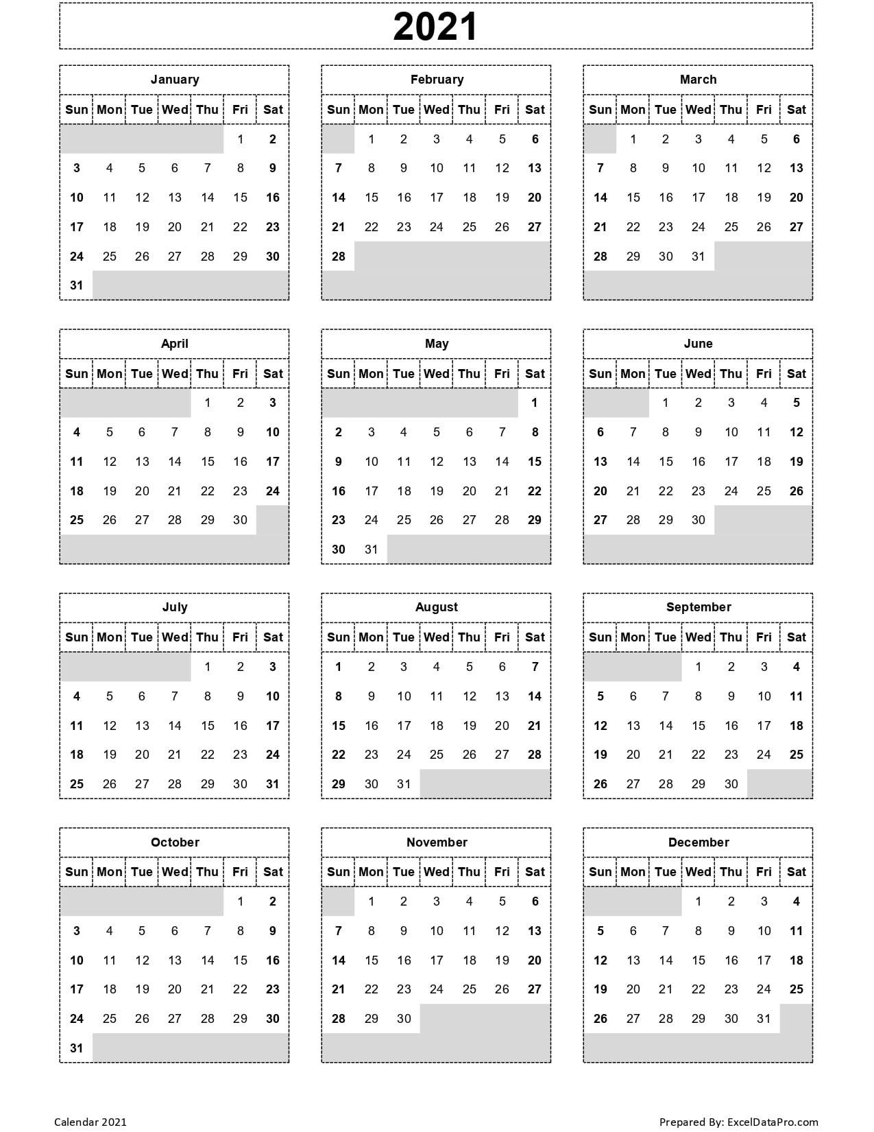 Calendar 2021 Excel Templates, Printable Pdfs & Images - Exceldatapro regarding 2021 Printable Full Year Calendar Image