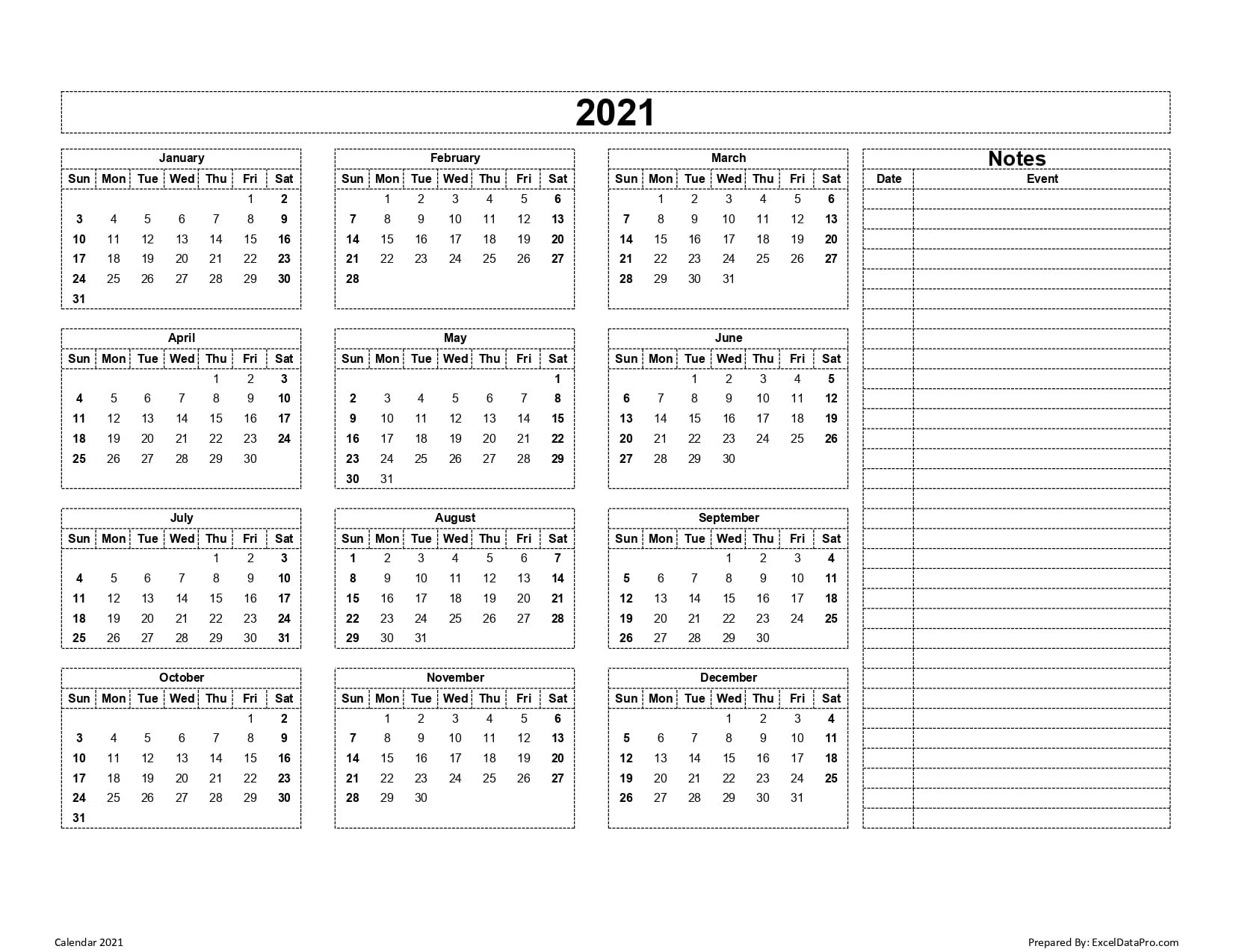 Calendar 2021 Excel Templates, Printable Pdfs & Images - Exceldatapro with regard to 2021 Calendar With Date Boxes Photo