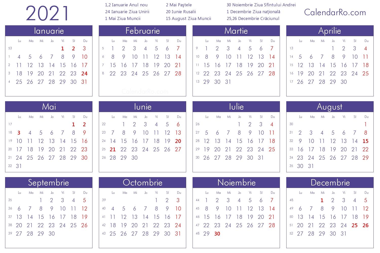 Calendar 2021 for Calendar 2021 Ro Zile Libere