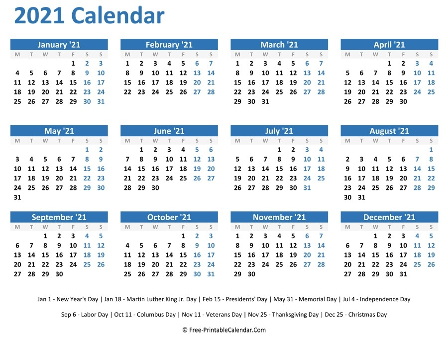 Calendar 2021 Free Download Complete Months | Free Printable Calendar Monthly regarding Free Printable Calendars 2021 Monthly