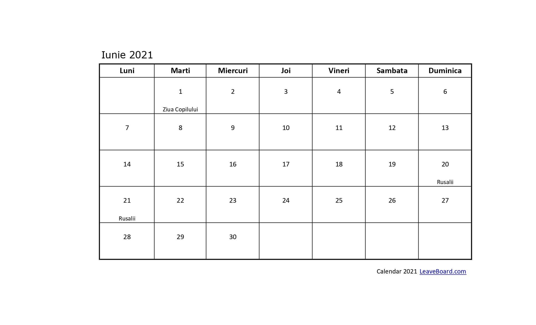 Calendar 2021   Leaveboard within Calendar 2021 In Limba Romana