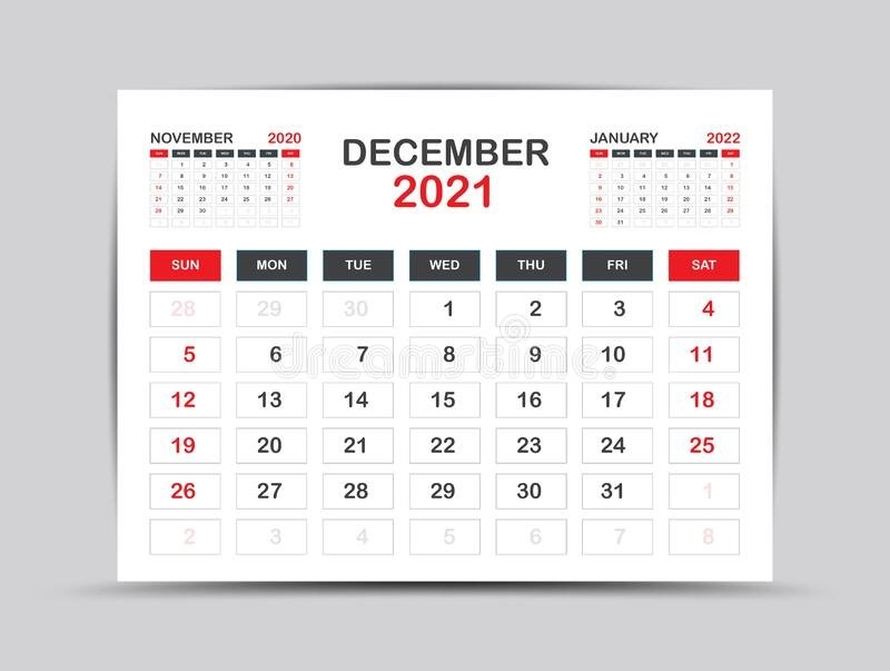 Calendar 2021 Template. December Page Vector For Calendar 2021 Template. Table, Wall, Desk throughout 2021 Table Calendar Templates For Illustrator Graphics