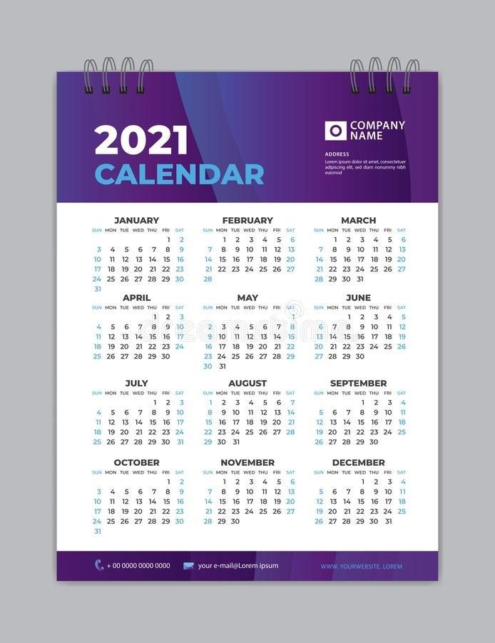 Calendar 2021 Template Layout, Poster, Wall Calendar 2021, Business Brochure Flyer, Print Media intended for 2021 Broadcast Calendar For Media