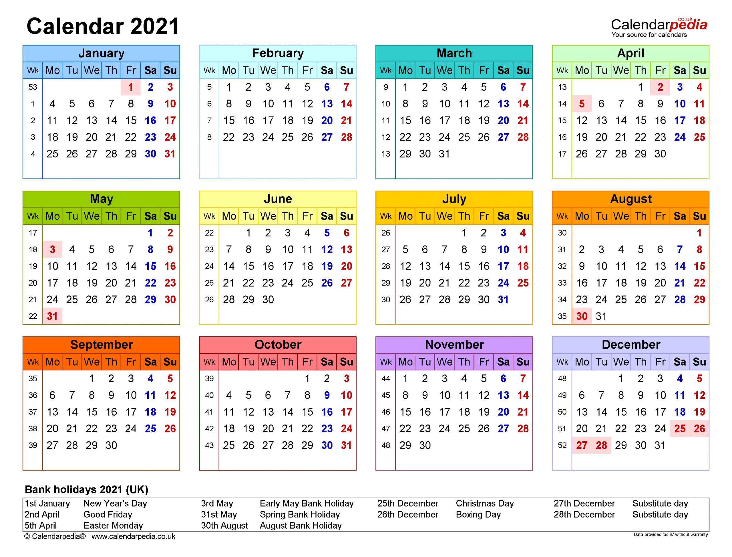 Calendar 2021 (Uk) - Free Printable Pdf Templates regarding One Page2021 Calendar Printable Images Image