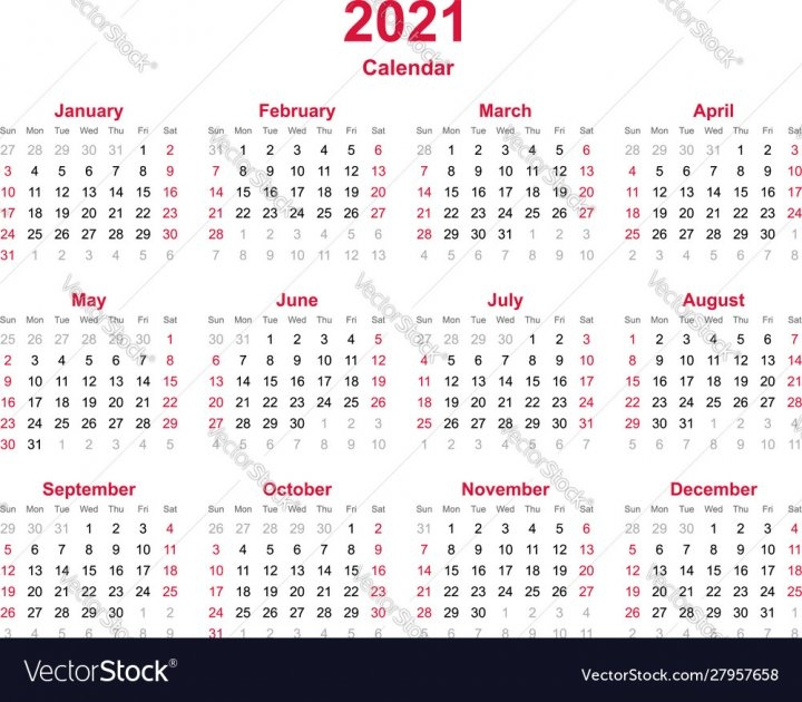 Calendar 2021 Vector Image - Nohat - Free For Designer with regard to 2021 Calendar With Numbered Days
