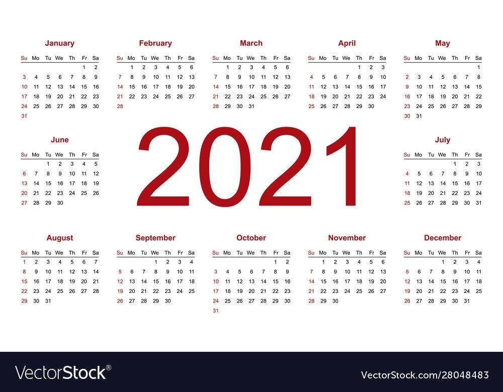 Calendar 2021 Week Starts From Sunday Business Vector Image regarding Google 2021 Calendar Printable