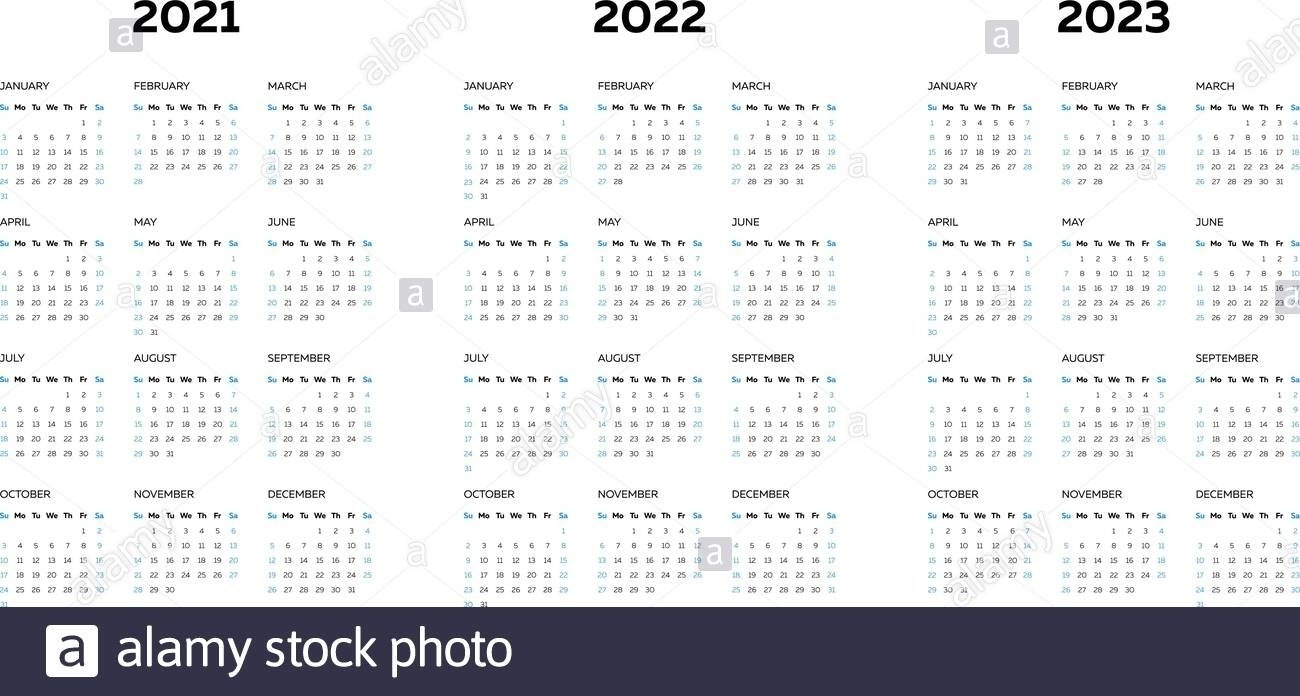 Calendar From 2021 To 2023 | Month Calendar Printable for 3 Year Calendar 2021 2021 2022 Graphics