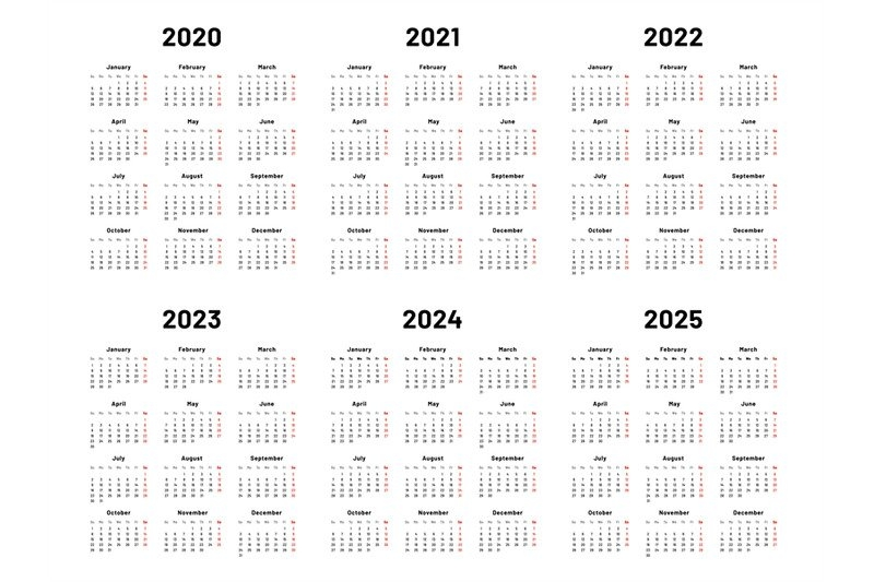 Calendar Grid. 2020 2021 And 2022 Yearly Calendars. 2023, 2024 Years Otartila for Yearly Calendars 2021 To 2025
