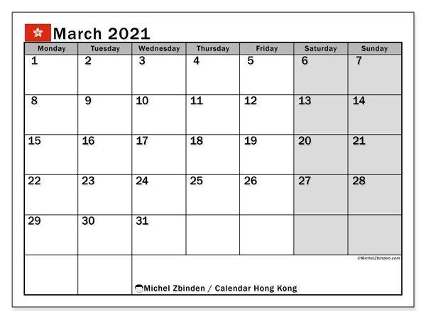 Calendar March 2021 - Hong Kong - Michel Zbinden En regarding 2021 Hong Kong Calendar In Excel Photo