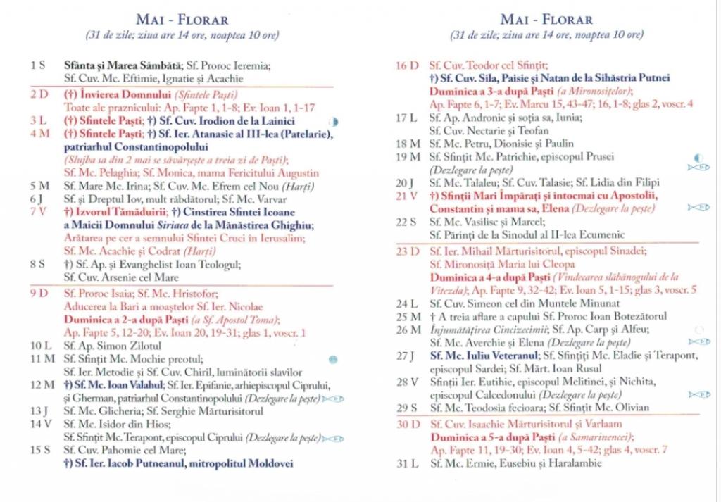 Calendar Ortodox 2021 - Sărbători Religioase Din Fiecare Lună, Zile De Post Și Dezlegare La within Cate Zile Lucratoare Are Fiecare Luna In 2021 Photo
