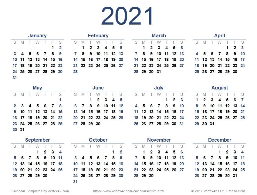 Calendar Pdf 2021 within Excel Monthly Calendar 2021