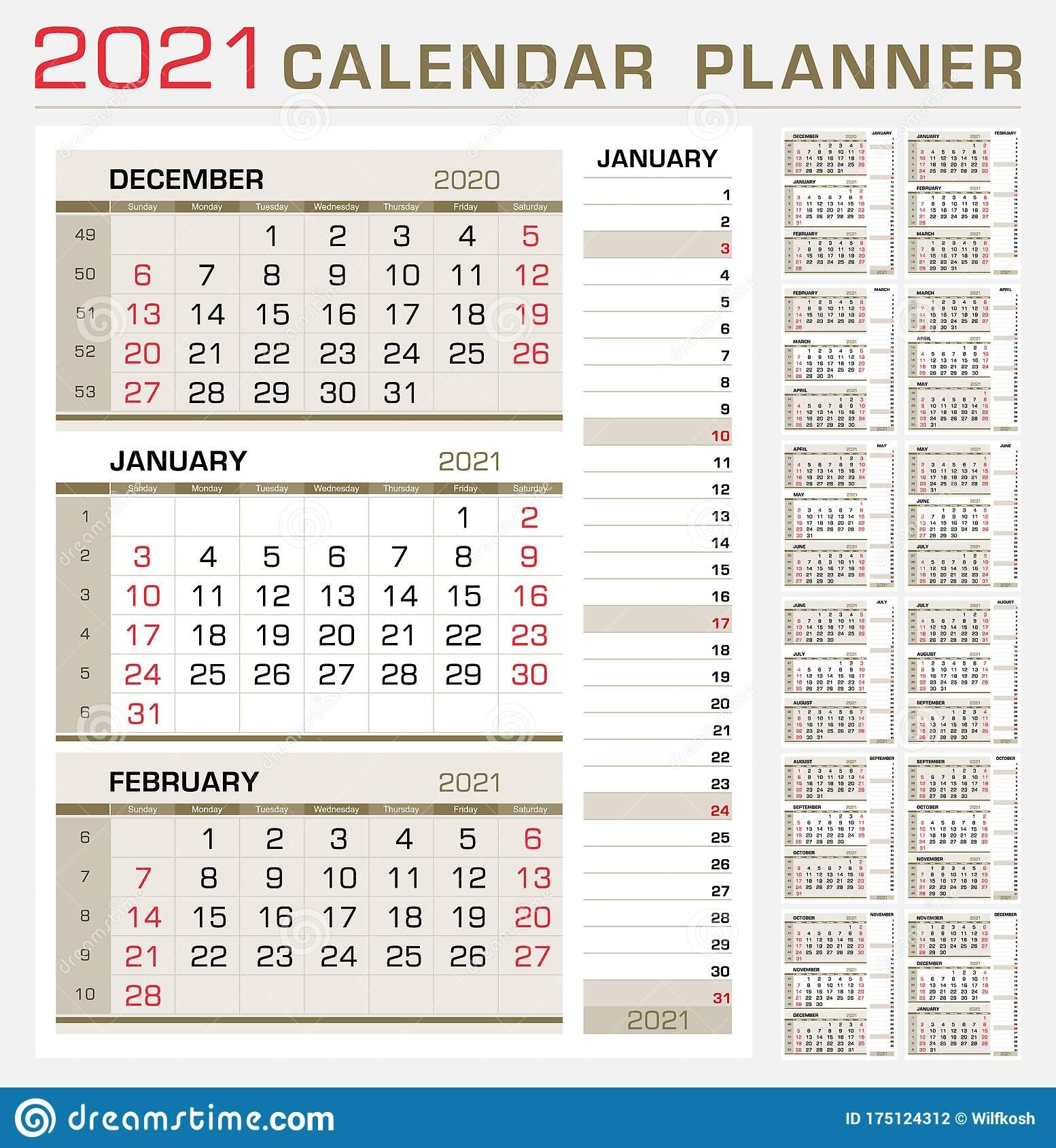 Calendar Planner 2021. Week Start From Sunday. 3 Month Calendar On Page, With Flush Right Stripe pertaining to Calendar Templates 3 Months Per Page 2021 Graphics