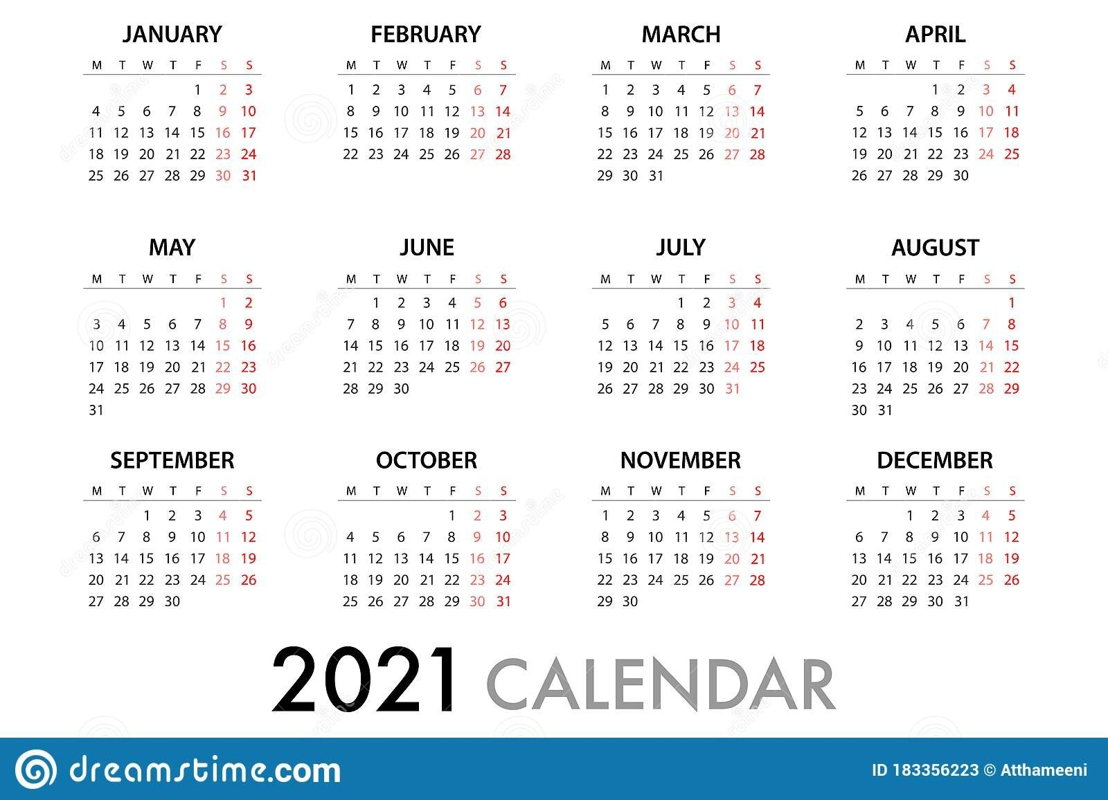 Calendar Planner 2021 Week Starts Monday. Simple Vector Template Eps 10 Stock Illustration pertaining to Calendar With Numbered Days 2021