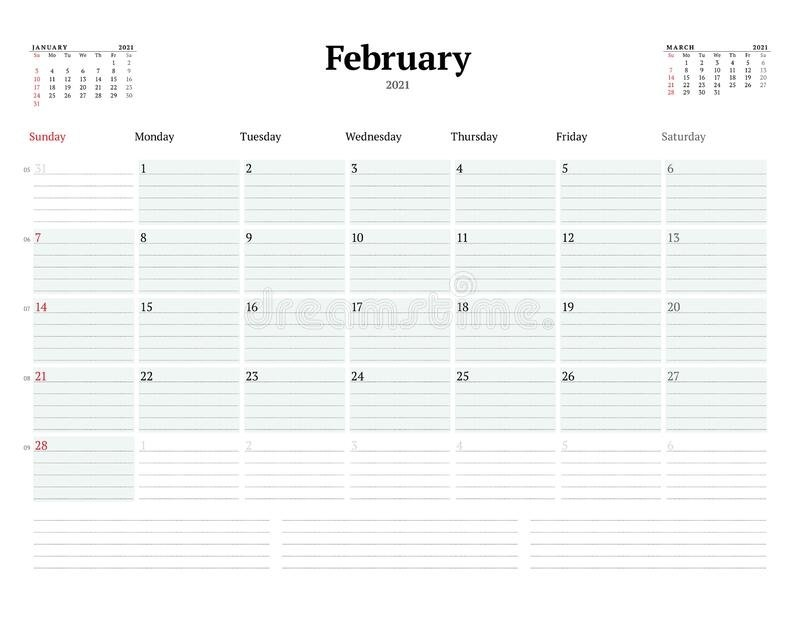 Calendar Template For February 2021. Business Monthly Planner. Stationery Design. Week Starts On within Calendar With Lines And Times 2021