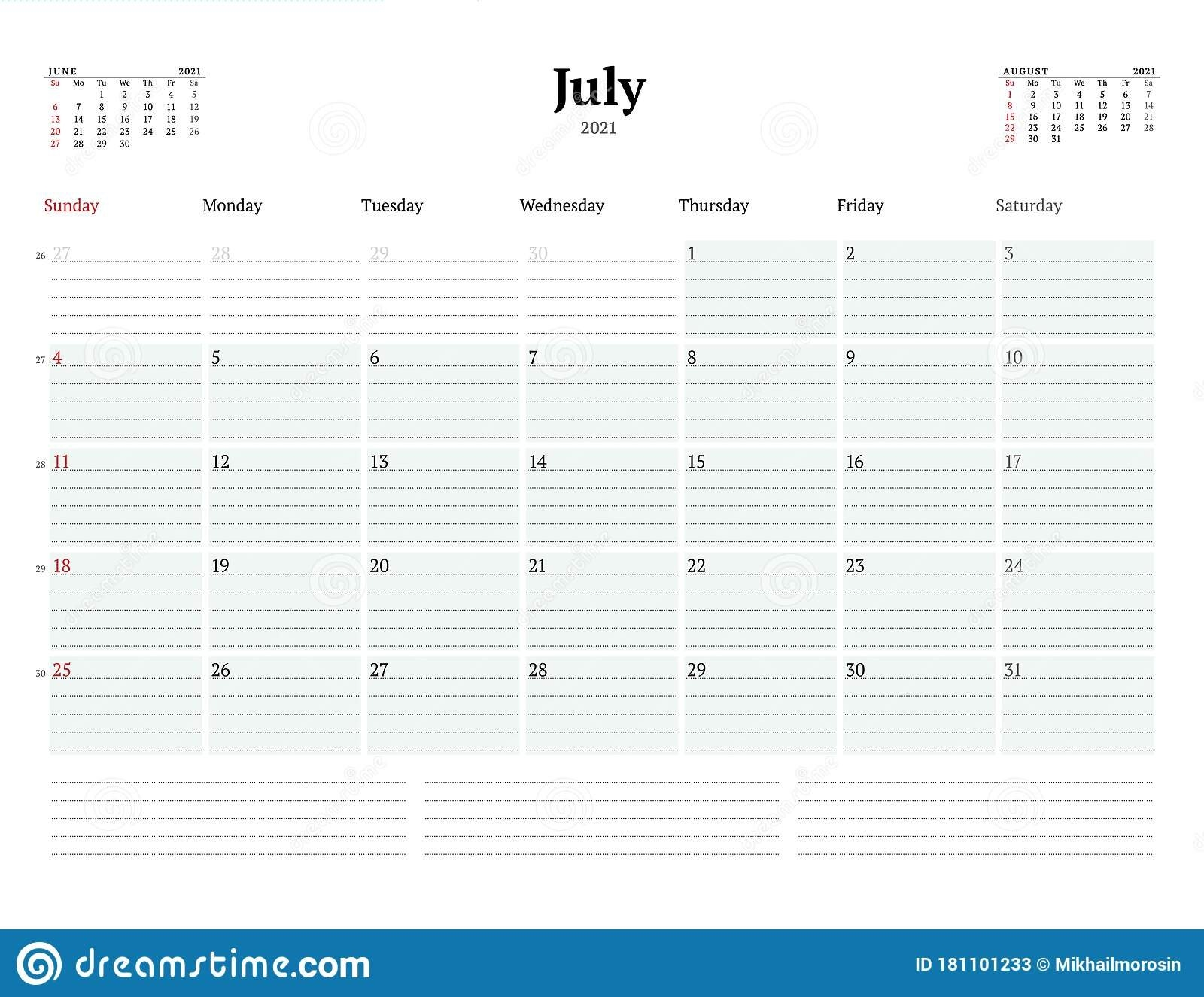 Calendar Template For July 2021. Business Monthly Planner. Stationery Design. Week Starts On with regard to Calendar With Lines And Times 2021 Image