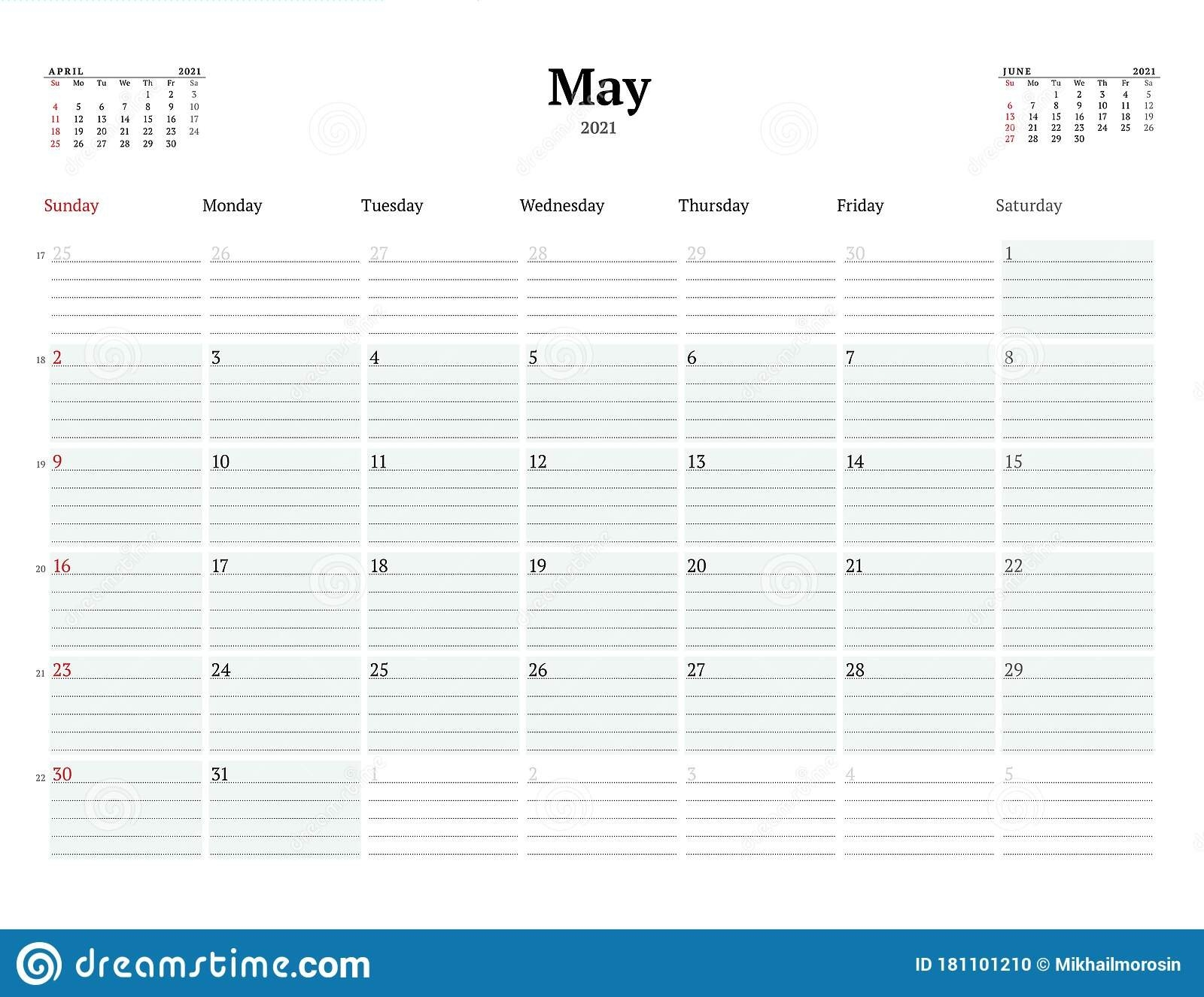 Calendar Template For May 2021. Business Monthly Planner. Stationery Design. Week Starts On throughout 2021 Calendars With Lines