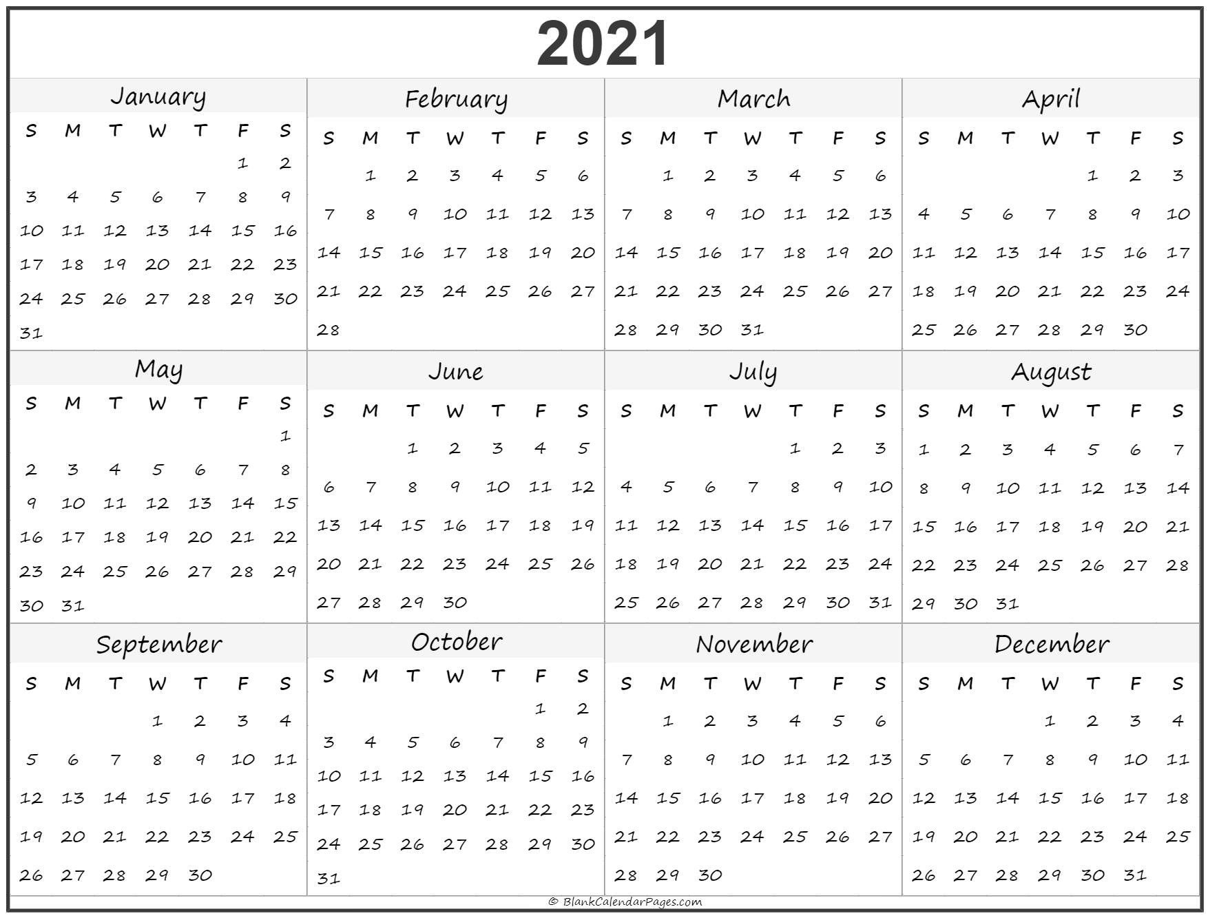 Calendar To Print 2021 Free All Months | Free Printable Calendar Monthly with 2021 Calendar With Date Boxes